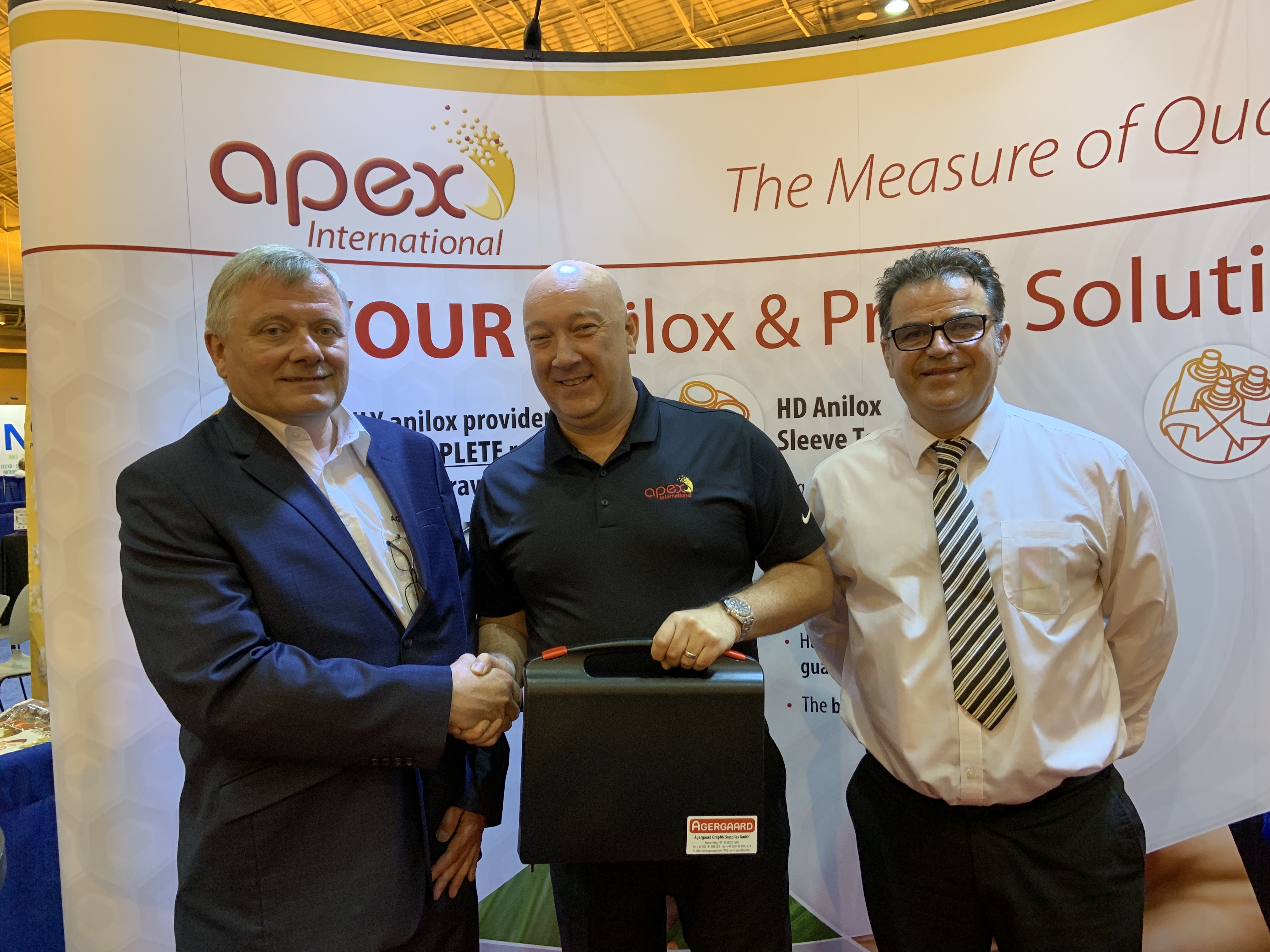 From L to R: Ole Agergaard (CEO of Agergaard Graphic Supplies), Dave McBeth (Vice President of Sales, Apex North America), Nick Harvey (Technical Director, Apex International)